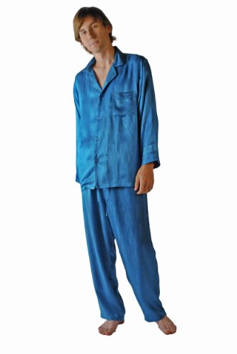 Men's Classic Pajamas Long Sleeve 100% Silk (Ocean Waves, S/M) Silk PJs for Men; Valentines day pajamas pajama pants clothes clothing Romantic gifts clothing boxers pajamas sleepwear Romantic valentines day gifts for him Guys intimate Romantic Gifts Men Husband Boyfriend