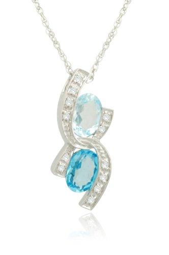 Sterling Silver Fashion Blue-Topaz Diamond Pendant Necklace (0.07 cttw, I-J Color, I2-I3 Clarity), 18