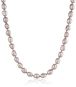 Sterling Silver 5-6mm Pink Freshwater Cultured Baroque Pearl Necklace 16""
