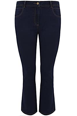 Yoursclothing Plus Size Womens Indigo Bootcut 5 Pocket Denim Jeans