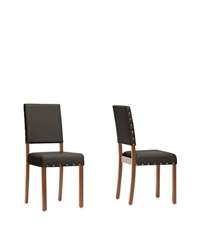 Baxton Studio Set of 2 Walter Dining Chairs, Dark Brown
