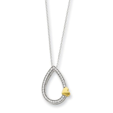 The Black Bow - A Tear of Love Necklace in Silver and Gold