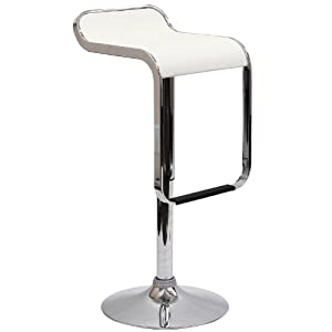 LexMod LEM Piston Style Vinyl Bar Stool in White