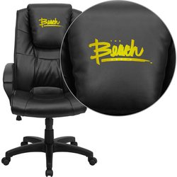 Flash Furniture California State University-Long Beach 49ers Embroidered Black Leather Executive Office Chair at Amazon.com