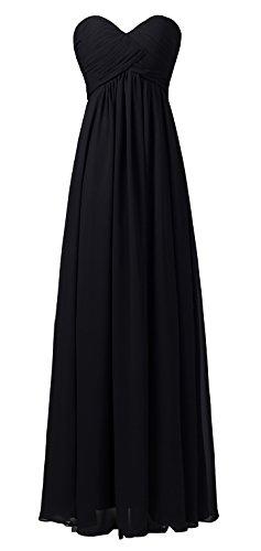 Ouman Sweetheart Bridesmaid Chiffon Prom Dress Long Evening Gown Black XL