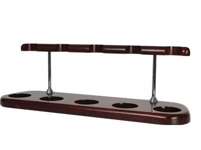 Tobacco Pipe Stand Furniture Mahogany Finish with Silver Posts - 5 Pipe Stand
