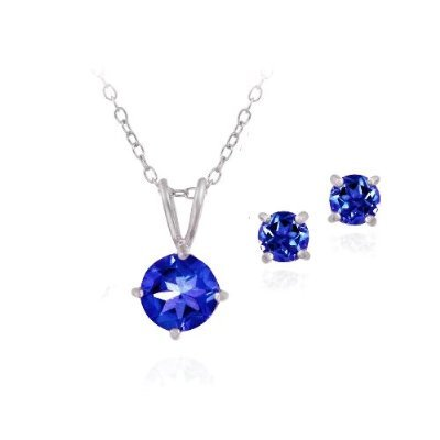 Sterling Silver 2.8ct Created Sapphire Solitaire Necklace & Stud Earring Set