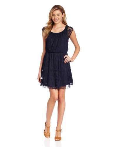 Jump Juniors Elite Rose String Lace Short Dress, Navy, 3/4
