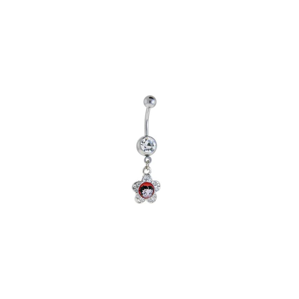 Betty Boop Belly Ring Dangle Jewelry Clear Gem Betty Boop Dangle in Jeweled Star