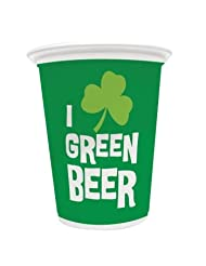 Shop St Patrick's Day I Love Green Beer 16oz Plastic Cups 8 Per Pack With Best Deal