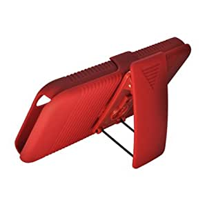 Aimo Wireless LGLS855PCBEC003 Shell Holster Combo Protective Case for LG Marquee/Ignite LS855/P970 with Kickstand Belt Clip and Holster - Retail Packaging - Red