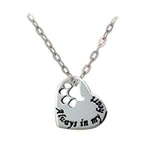 "Sterling Silver ""Always in my heart"" Paw Print Heart Pendant Necklace 18"", Pet jewelry"