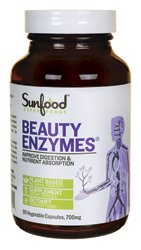 Sunfood Beauty Enzymes, Kosher, Non-GMO, Indigestion Remedy, 90 Vegetarian Capsules