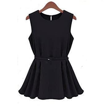 Women's Chiffon Vest Shirt Sleeveless Shirt Scoop Neck with Belt Tag S