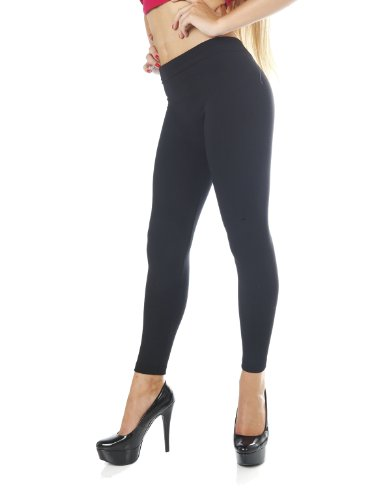 Basic Seamless Super Thick Long Full Length Leggings Tights Super Soft (One Size, Hot Pink) front-557670