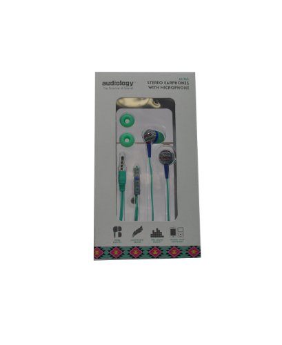 Audiology Au-165-Swgr In-Ear Stereo Earphones With Microphone For Mp3 Players, Ipods And Iphones (Green)