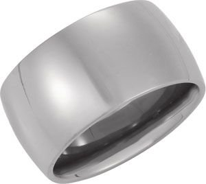 12 mm Titanium Comfort Fit Domed Fashion Band, Size 7.5