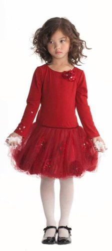 Biscotti Little Girls' Pocketful Of Posies Long Sleeve Dress, Red, 3T front-44520