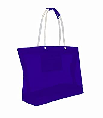 X-Large Oversized Mesh Beach Bag Tote with Zipper Closure (Blue)
