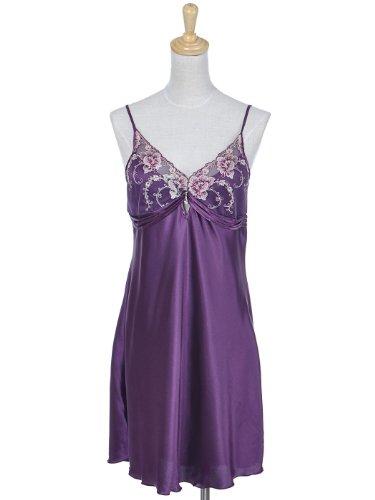 Anna-Kaci S/M Fit Deep Royal Purple Satin Floral Embroider Trim Low Cut Chemise