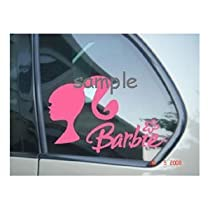 Barbie Doll W/Word Car Truck Window Vinyl Decal Sticker - SBD05072- PINK COLOR