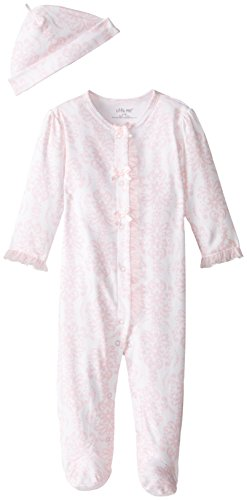 Little Me Baby-Girls Newborn Damask Scroll Footie and Hat, Pink/Multi, 6 Months
