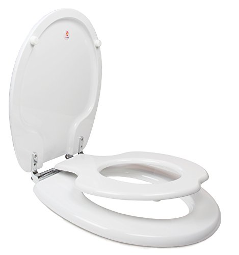 TOPSEAT TinyHiney Potty Round Toilet Seat, Adult/Child, w/ Slow Close Chromed Metal Hinges, Wood, White (Slow Close Potty compare prices)