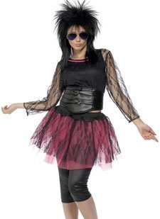 Smiffy's 80s Icon Costume with Top Vest Skirt Leggings and Belt - 12 to 14 or 16 to 18.