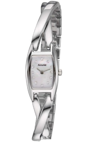 Accurist Women's Quartz Watch with Mother of Pearl Dial Analogue Display and Silver Bangle LB1436P