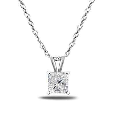 Glitz Design Princess Cut Diamond Solitaire Necklace 14K Gold (G,I2) Popular Quality
