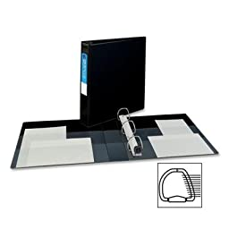 Averyamp;reg; - Heavy-Duty Vinyl EZD Ring Reference Binder, 1-1/2amp;quot; Capacity, Black - Sold As 1 Each - One TouchTM mechanism lets you open, close and lock your binder in one easy step.