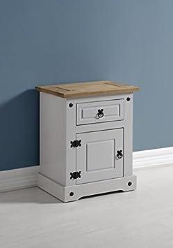 Mercer's Furniture Corona Table de chevet 1tiroir 1porte en gris/Pin ciré vieilli