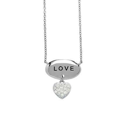 Sterling Silver Chain Necklace with CZ Diamonds Heart Pendant & Top Engraved LOVE Polished Oval (WoW !With Purchase Over $50 Receive A Marcrame Bracelet Free)
