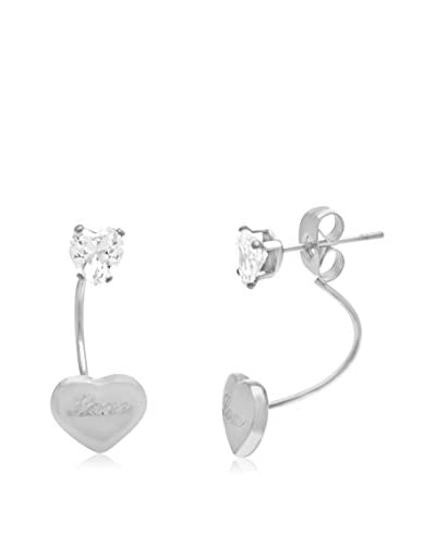 Annabella Lily 18K White Gold-Plated Swarovski Crystal Double Heart Earrings