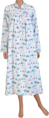 Lanz of Salzburg Winter Scene Flannel Nightgown