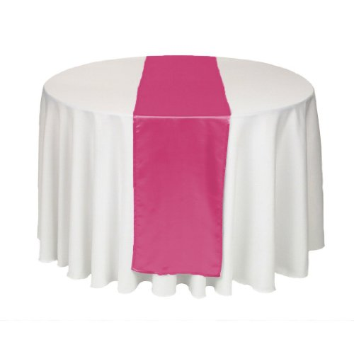 LinenTablecloth 14 x 108-Inch Satin Table Runner Fuchsia (Table Runner Pink compare prices)
