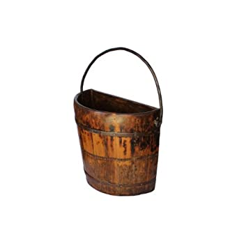 Antique Revival Knob Hill Wooden Half Bucket, Natural