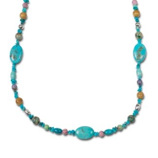 Sterling Silver Multi-Gemstone American Stones Beaded Station Necklace