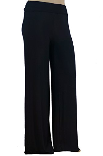 Stylzoo Women's Premium Modal Softest Ever Palazzo Solid Stretch Pants Black Supermodel 2X (Model Clothing compare prices)