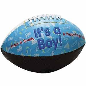 """IT'S A BOY"" FOOTBALL -BIRTH ANNOUNCEMENT/Keepsake/GIFT/BLUE - INCLUDES DISPLAY BOX/Shower/CHRISTENING/NEW BABY GIFT 5"" INCLUDES Plastic DISPLAY Box"