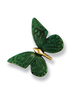Michael Healy Designs MHR18 Monarch Butterfly Doorbell Ringer, Brass/Green Patina