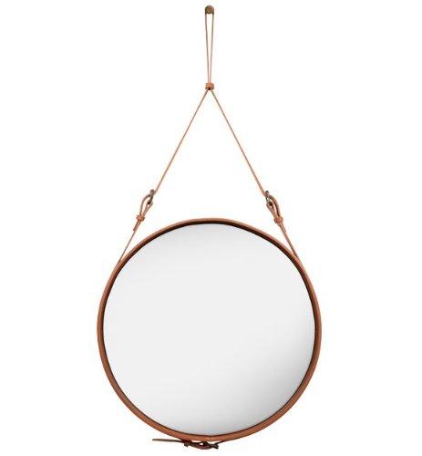 Gubi Spiegel Adnet Spiegel - Ø 70 cm - braun Jacques Adnet, Spiegel, Leder