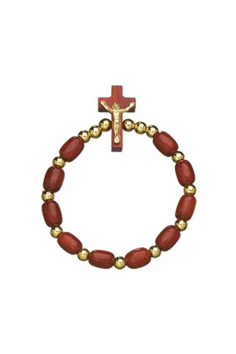 Brazilian Cherry Wood One Decade Rosary Bracelet with Crucifix. Made in Brazil.