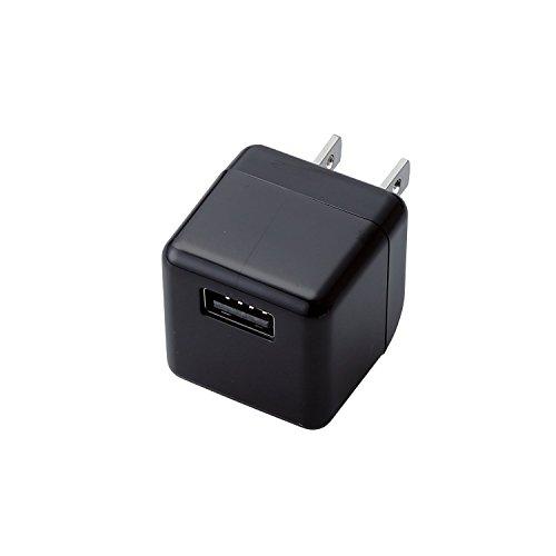 ELECOM スマートフォン タブレット用 AC充電器 USBメス×1 CUBE型 急速充電 1.8A出力 1年保証 ブラック  MPA-ACUBN003BK