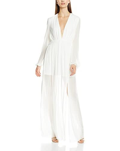 Rare London Vestido Largo Long Sleeve Plunge Illusion Maxi Blanco Roto