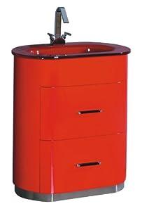 Luxo Marbre Retro 2831 R Retro Vanity With Tempered Glass Sink Red Bathroom Vanities