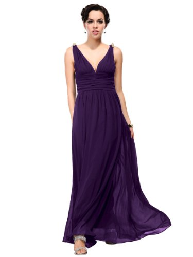 Ever Pretty Women's Eve Double V Long Dress Size S Purple 09016PP08