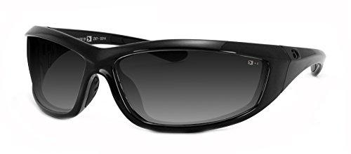 Bobster Charger Echa001 Oval Sunglasses,Black Frame/Smoke Lens,One Size