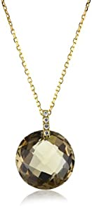 "Suzanne Kalan ""The Classics"" Round Smokey Quartz Diamond Necklace"