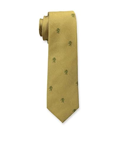 J. McLaughlin Men's Narrow Silk Jacquard Tie, Dark Gold/Moss Green